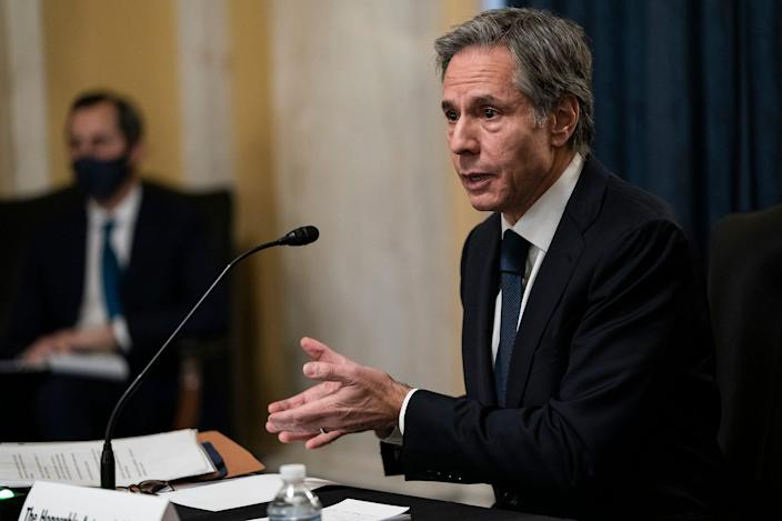 Antony Blinken testifies during his confirmation hearing to become secretary of state before the Senate Foreign Relations Committee in Washington on Jan. 19.