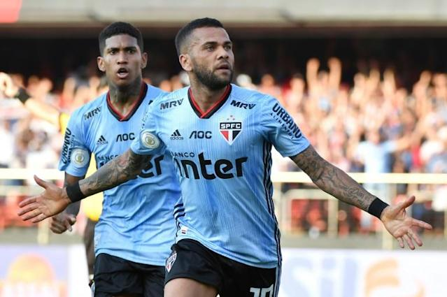 Dani Alves joined Sao Paulo in August after spells with some of Europe's top clubs (AFP Photo/NELSON ALMEIDA)