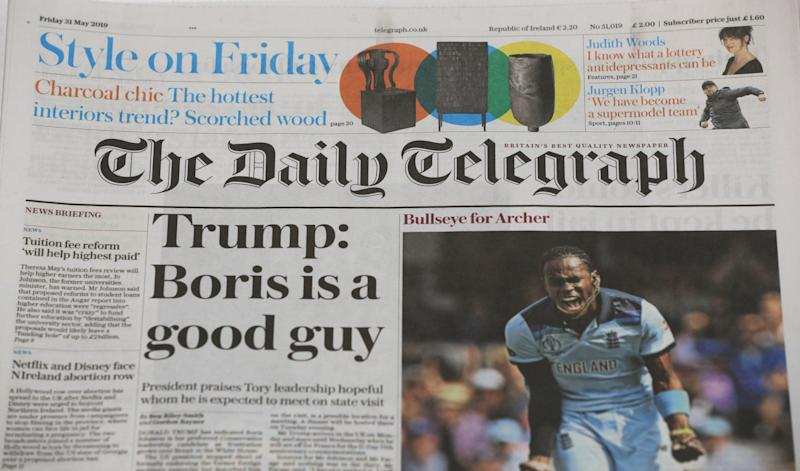 The Daily Telegraph Masthead. (Photo by Jonathan Brady/PA Images via Getty Images)