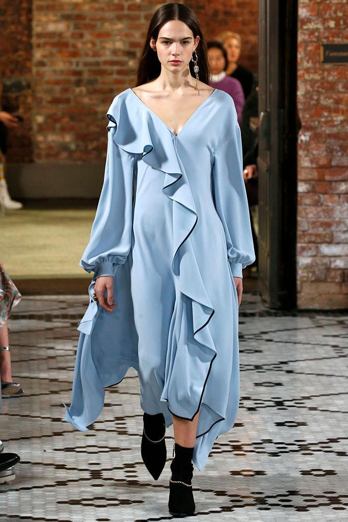 <p>A baby-blue ruffled dress at the Adeam FW18 show. (Photo: Getty) </p>