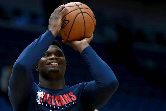 Zion Williamson is going to have his minutes limited as he continues to make his way back from surgery to repair a torn meniscus. (Photo by Sean Gardner/Getty Images)