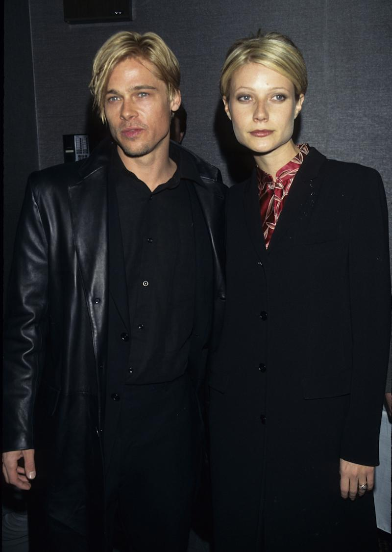"""Remember when Brad Pitt and Gwyneth Paltrow basically had the same haircut? Us too, and we won't ever forget. In this photo, the two showed off their matching 'dos at the premiere of """"The Devil's Own"""" in 1997."""