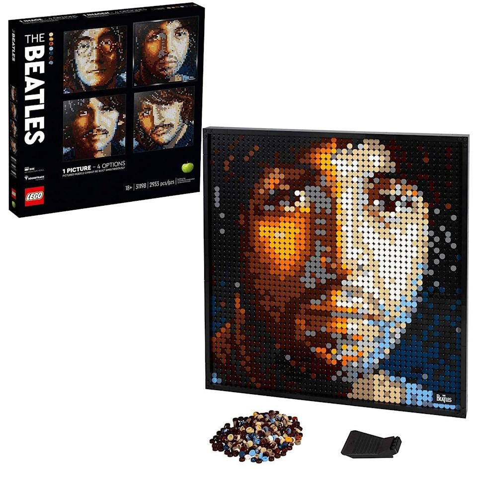 """<p><strong>LEGO Art</strong></p><p>amazon.com</p><p><strong>$119.99</strong></p><p><a href=""""https://www.amazon.com/dp/B0858LSYXZ?tag=syn-yahoo-20&ascsubtag=%5Bartid%7C10054.g.34039580%5Bsrc%7Cyahoo-us"""" rel=""""nofollow noopener"""" target=""""_blank"""" data-ylk=""""slk:Buy"""" class=""""link rapid-noclick-resp"""">Buy</a></p><p>Half puzzle, half wall art, this set really makes you decide once and for all on the best band member (it's George); there are only enough pieces to construct one of the portraits. Build it, frame it (that's included), hang it on the wall, and get back to debating your dad on whether <em>Rubber Soul</em> or <em>Revolver </em>is the definitive Beatles album.</p>"""
