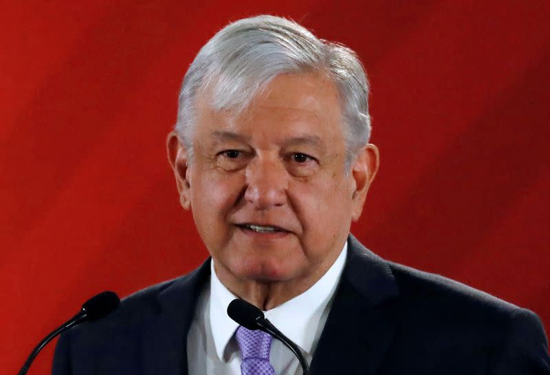 FILE PHOTO: Mexico's President Obrador speaks to the media during a a news conference at the National Palace in Mexico City