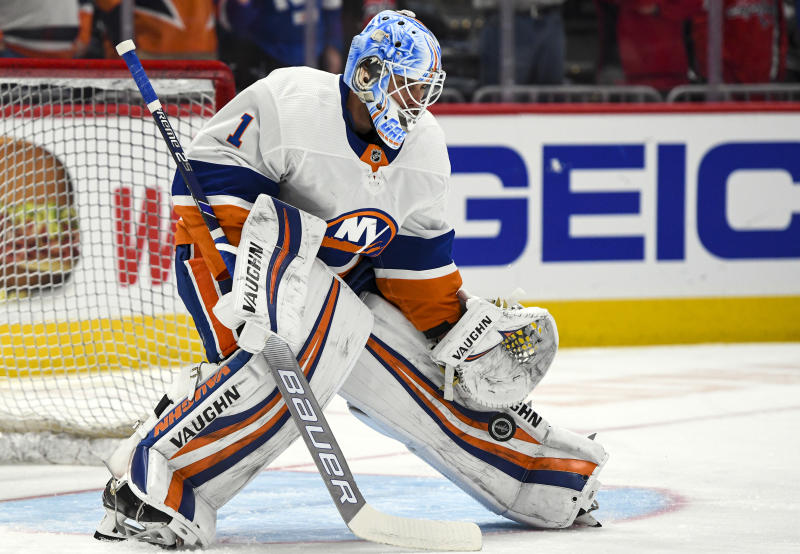 WASHINGTON, DC - FEBRUARY 10: New York Islanders goaltender Thomas Greiss (1) warms up for the game against the Washington Capitals on February 10, 2020 at the Capital One Arena in Washington, D.C. (Photo by Mark Goldman/Icon Sportswire via Getty Images)