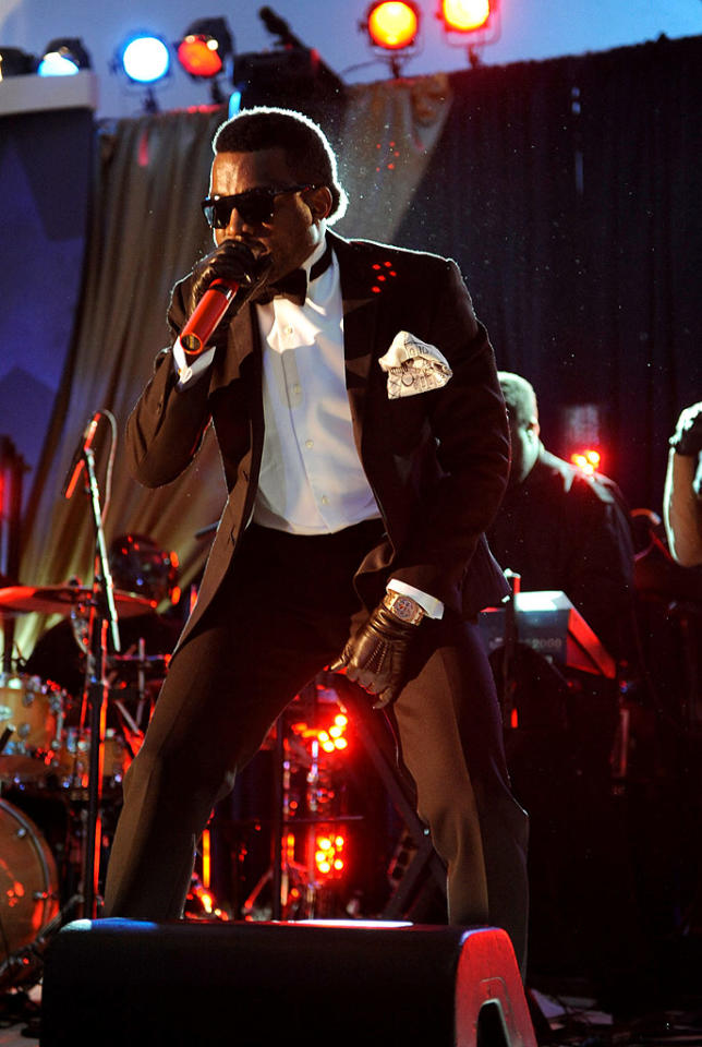 """Kanye West's pocket scarf nearly matched the size of his ego! The rapper/producer performed at MTV and ServiceNation's """"Be The Change: Live From The Inaugural Ball."""" Kevin Mazur/<a href=""""http://www.wireimage.com"""" target=""""new"""">WireImage.com</a> - January 20, 2009"""