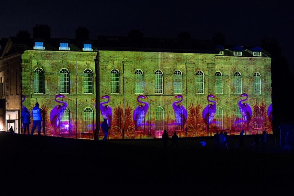 <p>Light projections created by contemporary artists Luxmuralis exploring the relationship between poetry and nature are beamed on to the facade of the Compton Verney mansion house during a preview of the In Light II exhibition at Compton Verney Art Gallery and Park in Warwickshire. (PA) </p>