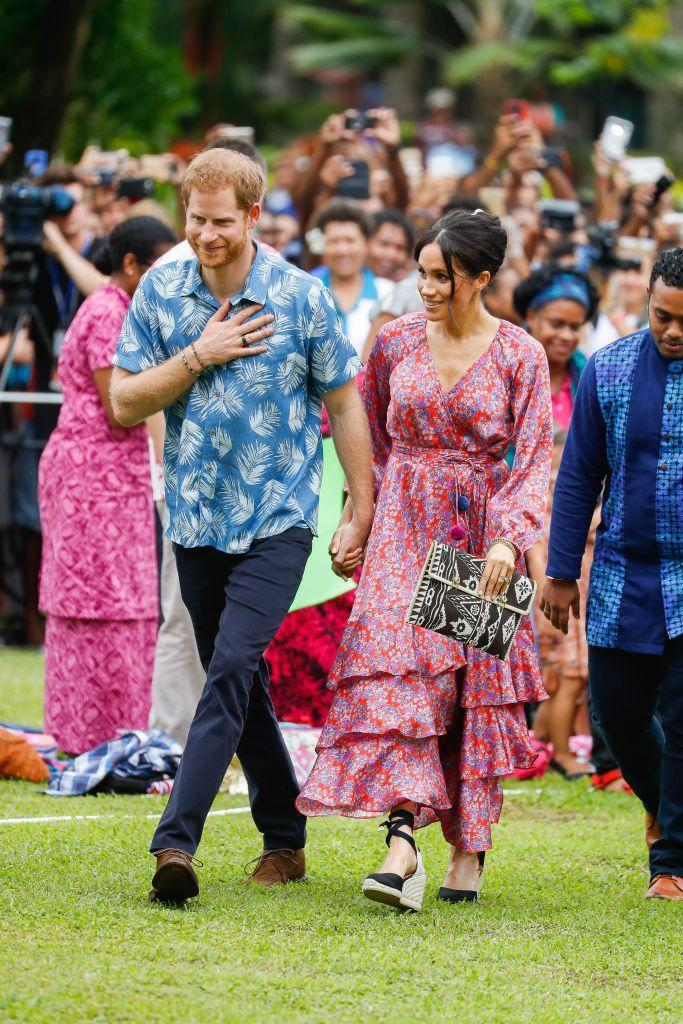 <p>Meghan rarely goes all-out on color—but when she does, she does it well. During the Fiji leg of her and Harry's royal tour of Oceania, the Duchess completed her eye-catching outfit with a pair of espadrilles.<br></p>