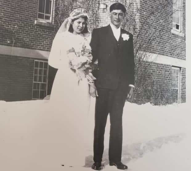 Therese and Kenneth Seesequasis, who both attended residential school in Saskatchewan, are shown on their wedding day, Feb. 10, 1948. The couple had eight children and became caregivers for the community, raising 29 kids from other families over the years.