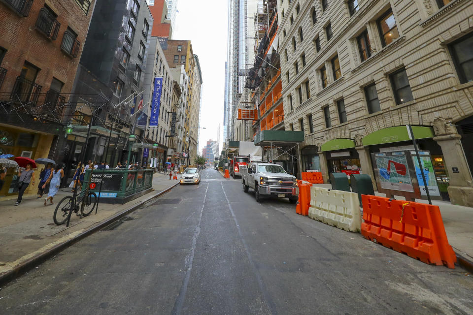 <p>Seventeen years after the collapse of the World Trade Center towers, construction continues on Greenwich Street near Rector Street in New York City on Aug. 18, 2018. (Photo: Gordon Donovan/Yahoo News) </p>