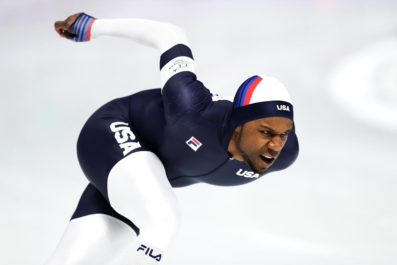 <p>Shani Davis of the United States competes during the Men's 1500m Speed Skating on day four of the PyeongChang 2018 Winter Olympic Games at Gangneung Oval on February 13, 2018 in Gangneung, South Korea. (Photo by Maddie Meyer/Getty Images) </p>