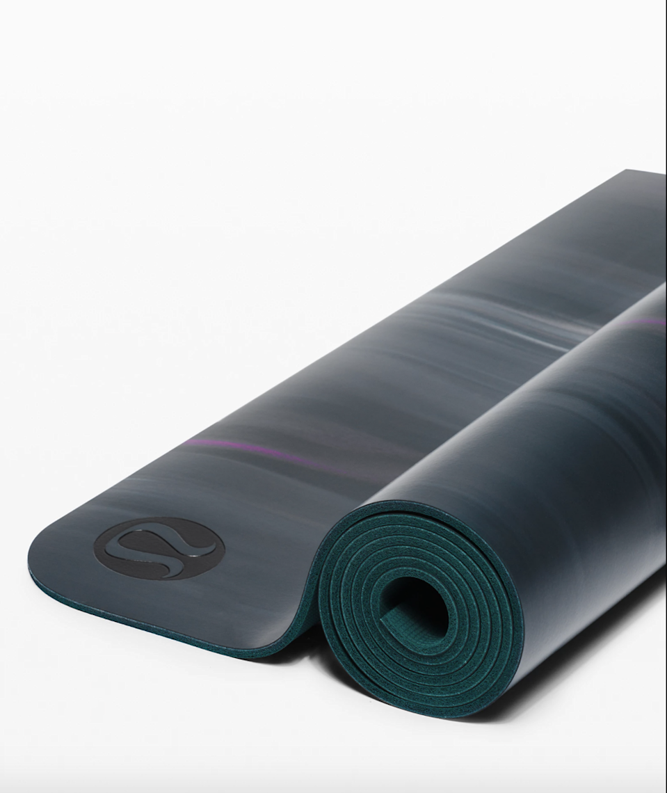 """<h2>Lululemon The Reversible Mat</h2><br>""""Up until the pandemic, I've never spent more than $30 on a yoga mat since it's not an item I get much use out of — I prefer hitting the gym or running outdoors, but as I gravitated to doing more at-home HIIT workouts, this mat has proven to be well worth it and has become an everyday staple in my life! Compared to the basic mats I've bought in the past, this one is well-cushioned so my knees don't hurt, has great grip, and the pattern on the mat provides extra zen whenever I roll it out."""" – <em>Michelle Lin, Senior Designer</em><br><br><em>Shop <strong><a href=""""https://fave.co/2IomIlE"""" rel=""""nofollow noopener"""" target=""""_blank"""" data-ylk=""""slk:Lululemon"""" class=""""link rapid-noclick-resp"""">Lululemon</a></strong></em><br><br><strong>lululemon</strong> The Reversible Mat, $, available at <a href=""""https://go.skimresources.com/?id=30283X879131&url=https%3A%2F%2Ffave.co%2F3mTt6R3"""" rel=""""nofollow noopener"""" target=""""_blank"""" data-ylk=""""slk:lululemon"""" class=""""link rapid-noclick-resp"""">lululemon</a>"""