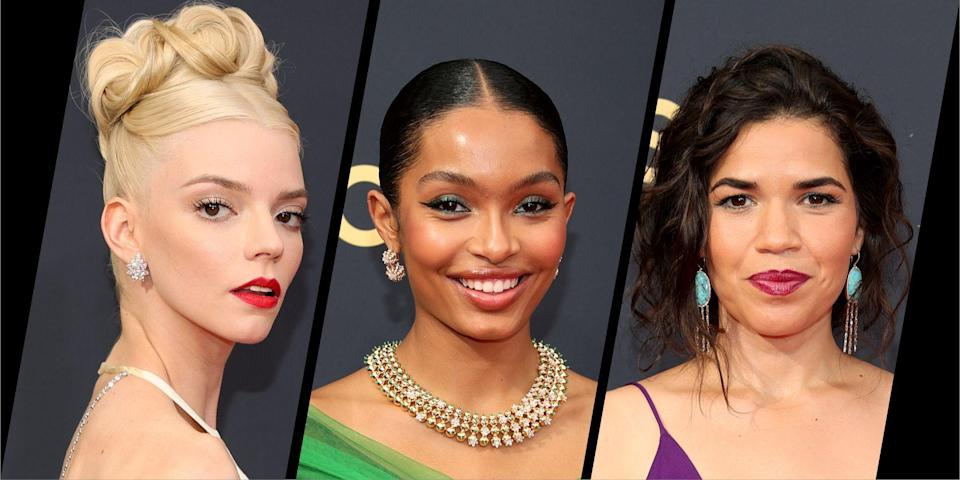 """<p>In a return to a real red carpet, after last year's virtual event, the big stars of the small screen brought some serious glamour to the <a href=""""https://www.harpersbazaar.com/uk/fashion/g37658589/emmy-awards-2021-red-carpet-looks/"""" rel=""""nofollow noopener"""" target=""""_blank"""" data-ylk=""""slk:2021 Emmy Awards"""" class=""""link rapid-noclick-resp"""">2021 Emmy Awards</a>.</p><p>Stars wore elegant hairstyles and experimental make-up, with rainbow bright hues and reflective textures lending feelings of optimism and joy. Oh, how we've missed it.</p><p>Below, see Bazaar's 10 top beauty looks from Anya Taylor-Joy's intricate up-do, to Yara Shahidi's emerald eyes. And see the <a href=""""https://www.harpersbazaar.com/uk/fashion/g37658700/2021-emmy-awards-best-dressed/"""" rel=""""nofollow noopener"""" target=""""_blank"""" data-ylk=""""slk:10 best dressed"""" class=""""link rapid-noclick-resp"""">10 best dressed</a> from the ceremony, here.</p>"""