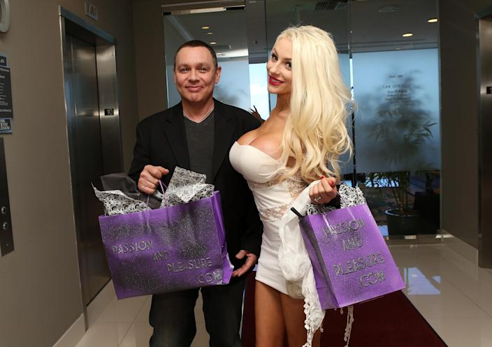 Doug Hutchinson and Courtney Stodden, pictured together in 2013. (Photo: Jesse Grant/WireImage)