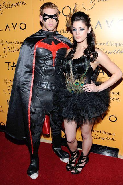 <p>As Robin from <em>Batman</em> and a peacock.</p>