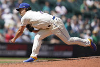 Seattle Mariners starting pitcher Marco Gonzales throws against the Oakland Athletics during the sixth inning of a baseball game, Sunday, July 25, 2021, in Seattle. (AP Photo/Ted S. Warren)