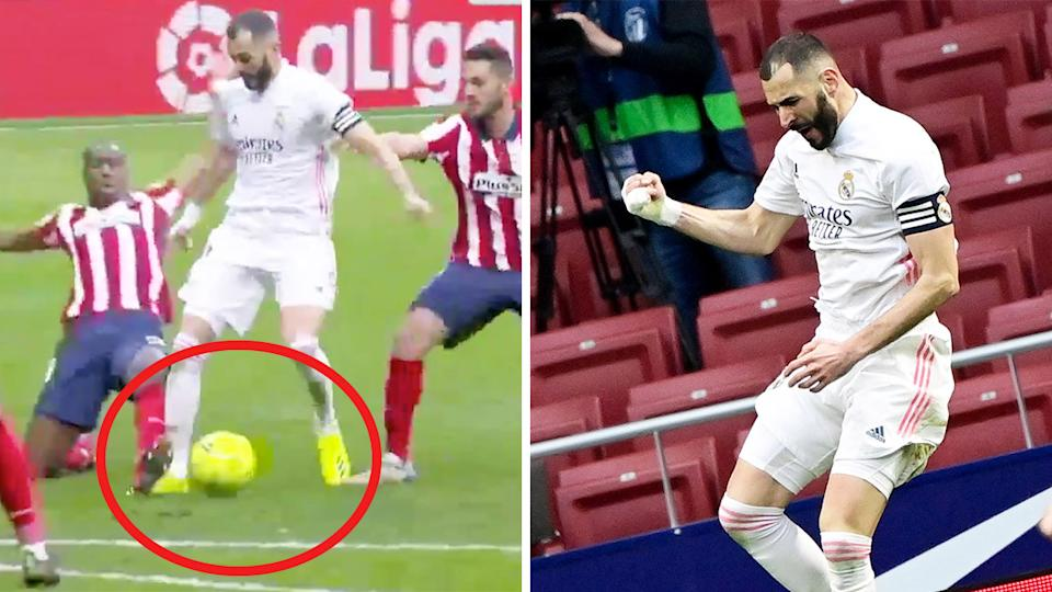 Karim Benzema celebrates his goal (pictured right) and dribbles the ball (pictured left).
