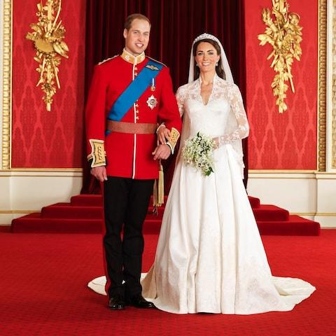 The official photograph of the Duke and Duchess of Cambridge on their wedding day - Credit: Hugo Burnand