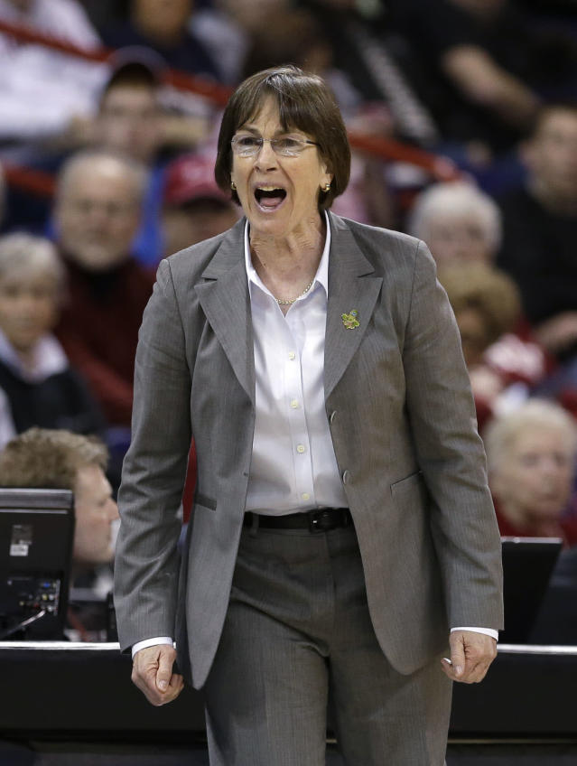 FILE - In this March 30, 2013 file photo, Stanford head coach Tara VanDerveer directs her team against Georgia in a regional semifinal in the NCAA women's college basketball tournament in Spokane, Wash. One thing on VanDerveer's mind is how much more balanced her team might be this season, taking some pressure off Chiney Ogwumike to do it all and actually give her a chance to take a breather from time to time. (AP Photo/Elaine Thompson, File)