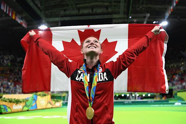 "<p>Four years after winning the gold medal in London, Rosie MacLennan made Canada proud once again with her second straight gold medal in women's trampoline. The King City, Ont., native became the first Canadian summer athlete to ever defend an Olympic title in an individual event.Click <a href=""https://ca.sports.yahoo.com/news/rosie-maclennan-trampoline-gold-highlights-212615079.html"" data-ylk=""slk:here"" class=""link rapid-noclick-resp newsroom-embed-article"">here</a> to read more. </p>"