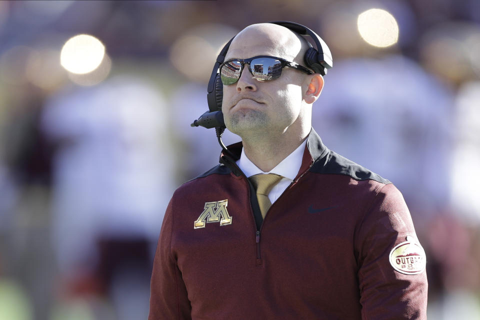 Minnesota head coach P.J. Fleck during the second half of the Outback Bowl NCAA college football game against Auburn Wednesday, Jan. 1, 2020, in Tampa, Fla. (AP Photo/Chris O'Meara)