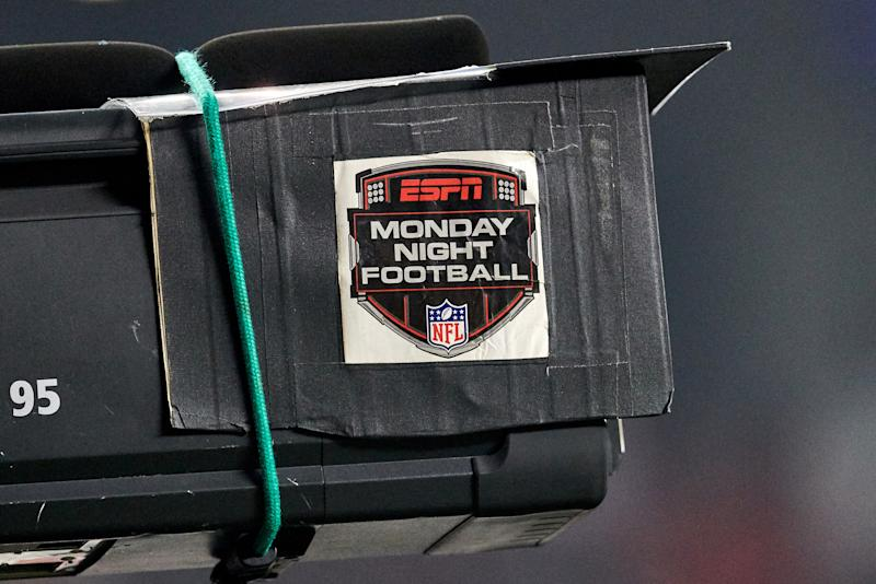 SANTA CLARA, CA - NOVEMBER 12: A detailed view of an ESPN Monday Night Football logo is seen on a broadcast TV camera during the NFL game between the New York Giants and the San Francisco 49ers on November 12, 2018 at Levi's Stadium in Santa Clara, CA. (Photo by Robin Alam/Icon Sportswire via Getty Images)