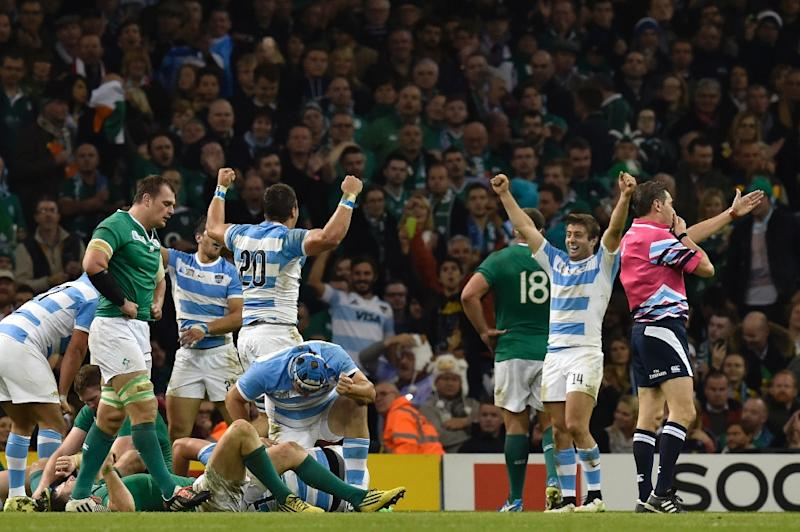 Argentina's players celebrate at the final whistle of their Rugby World Cup quarter-final match against Ireland, at the Millennium Stadium in Cardiff, south Wales, in October 2015 (AFP Photo/Loic Venance)