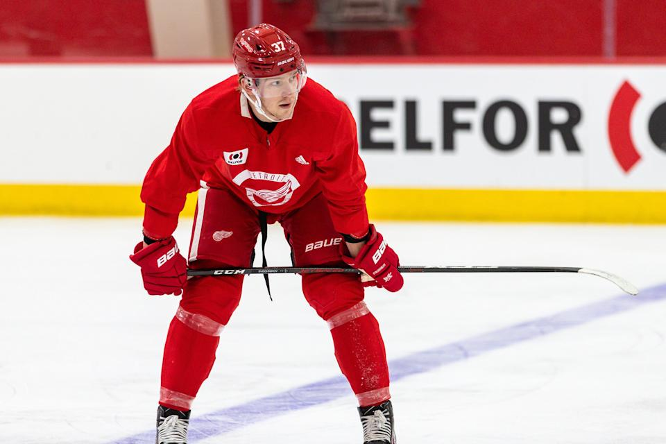 Evgeny Svechnikov at Detroit Red Wings training camp practice in Little Caesars Arena, Jan. 2, 2021.