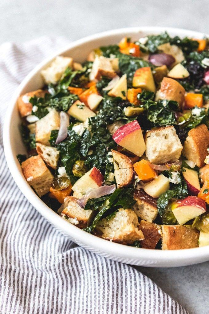 """<p>This autumnal twist on the classic bread salad doubles as a delicious Thanksgiving side dish. It's hearty, seasonal, and delicious all month long. </p><p><strong>Get the recipe at <a href=""""https://houseofnasheats.com/fall-panzanella-salad/"""" rel=""""nofollow noopener"""" target=""""_blank"""" data-ylk=""""slk:House of Nash Eats"""" class=""""link rapid-noclick-resp"""">House of Nash Eats</a>. </strong></p><p><a class=""""link rapid-noclick-resp"""" href=""""https://go.redirectingat.com?id=74968X1596630&url=https%3A%2F%2Fwww.walmart.com%2Fsearch%2F%3Fquery%3Dbaking%2Bsheet&sref=https%3A%2F%2Fwww.thepioneerwoman.com%2Ffood-cooking%2Fg33980564%2Fthanksgiving-salad-recipes%2F"""" rel=""""nofollow noopener"""" target=""""_blank"""" data-ylk=""""slk:SHOP BAKING SHEETS"""">SHOP BAKING SHEETS</a></p>"""
