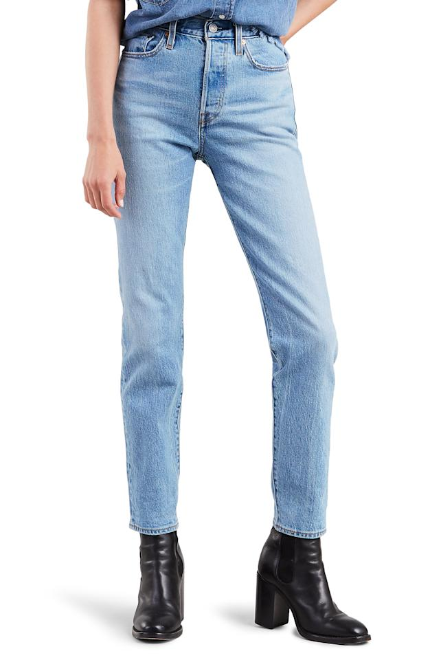 "More than one <em>Glamour</em> staffer has a pair of these cult-favorite jeans from Levi's. Comfier than your usual denim, this straight leg cut is the answer to your too-restricting skinnies. $98, Nordstrom. <a href=""https://shop.nordstrom.com/s/levis-wedgie-icon-fit-high-waist-ankle-jeans-bright-side/5126478/full"">Get it now!</a>"