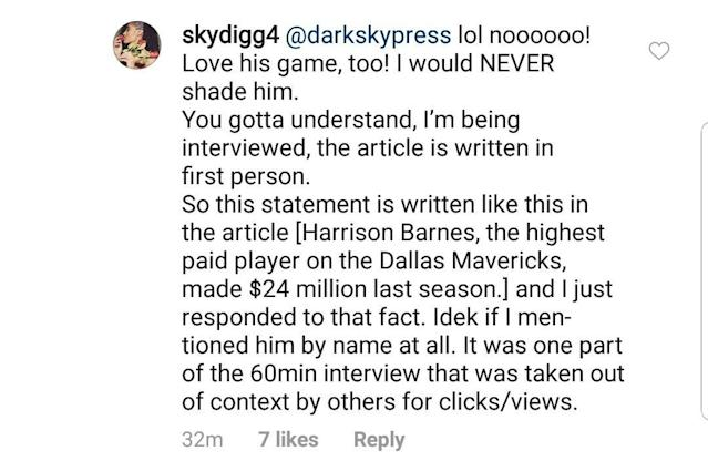 Skylar Diggins-Smith responds on Instagram to criticism of her essay on the wage gap in basketball. (via @mellentuck)