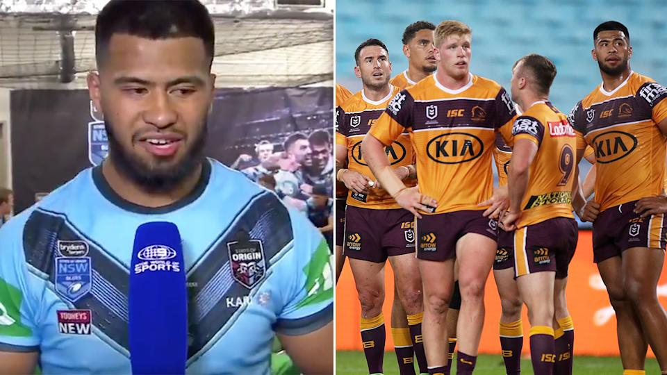 Pictured here, Payne Haas speaking after NSW's win and with the Broncos in the NRL on the right.