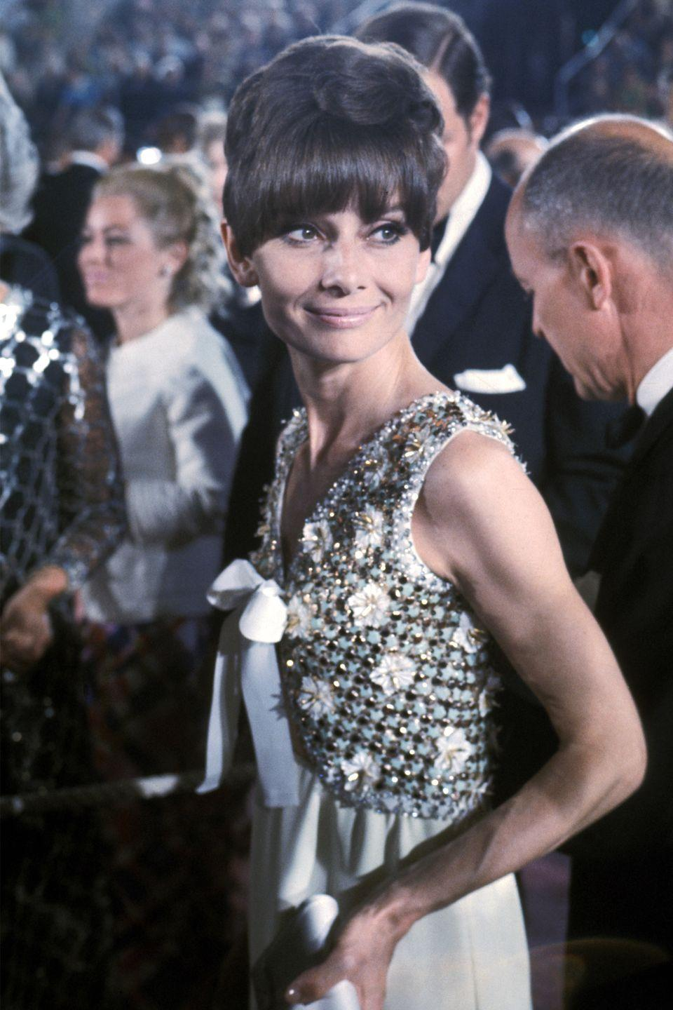 <p>While Audrey Hepburn was largely staying out of the limelight to raise her family, she still made an appearance at the 1975 Oscars, relying on the old faithful, Givenchy, to create another memorable look. </p>
