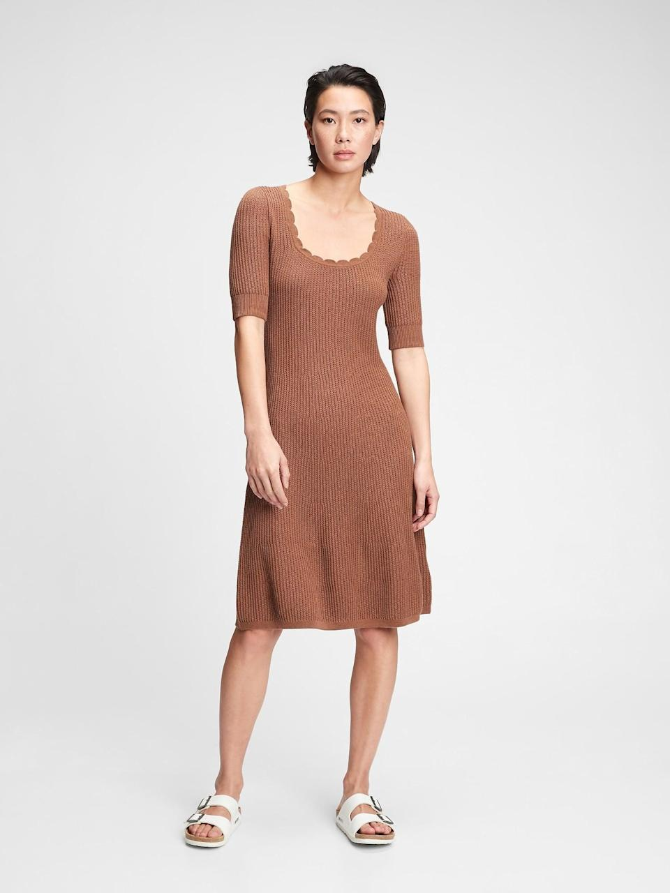 <p>This <span>Gap Fit and Flare Sweater Dress</span> ($55, originally $70) looks stylish and comfortable. Pair it with a denim jacket and your favorite pair of sneakers for weekend errands.</p>