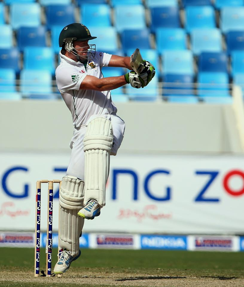 South African batsman AB de Villiers bats during the second day of the second Test match between Pakistan and South Africa at the Dubai International Cricket Stadium October 24,  2013. AFP PHOTO/MARWAN NAAMANI        (Photo credit should read MARWAN NAAMANI/AFP/Getty Images)