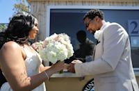 <p>With many weddings put on hold due to the Coronavirus outbreak, other ways of ensuring people can still get married have been enacted around the world.</p><p>In California, a pop-up socially distanced wedding service has been erected where only one witness is allowed. This wedding - held on May 19th - between Rodney and Monica Cosby was set up by the Orange County Clerk-Recorders in Anaheim at the Honda Centre, and was performed by a Clerk inside the pop up.</p>