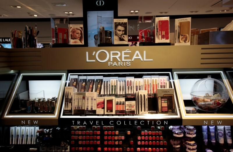 A cosmetic display of French cosmetics group L'Oreal is seen during the inauguration of the commercial zone at the Nice international airport Terminal 1 in Nice