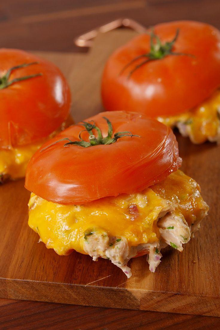 "<p>Why use bread when you can use a tomato?</p><p>Get the recipe from <a href=""https://www.delish.com/cooking/recipe-ideas/recipes/a51097/tomato-bun-tuna-melts-recipe/"" rel=""nofollow noopener"" target=""_blank"" data-ylk=""slk:Delish"" class=""link rapid-noclick-resp"">Delish</a>.</p>"