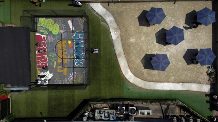 Aerial view of a coworking space on Paulista Avenue in Sao Paulo (AFP/Miguel SCHINCARIOL)