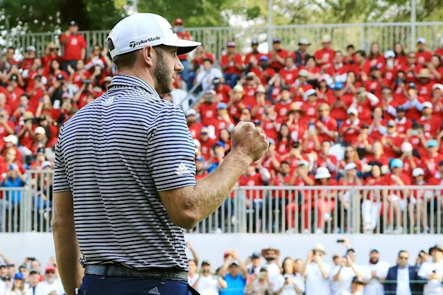 "<div class=""caption""> Dustin Johnson celebrates on the 18th green after making a par to win the 2019 WGC-Mexico Championship. </div> <cite class=""credit"">David Cannon/Getty Images</cite>"
