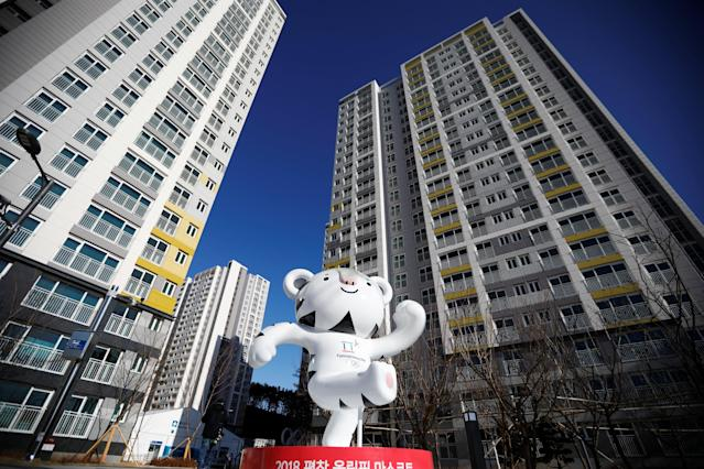 The 2018 PyeongChang Winter Olympics mascot Soohorang stands at the Gangneung Olympic Village in Gangneung, South Korea January 25, 2018. (REUTERS/Kim Hong-Ji)