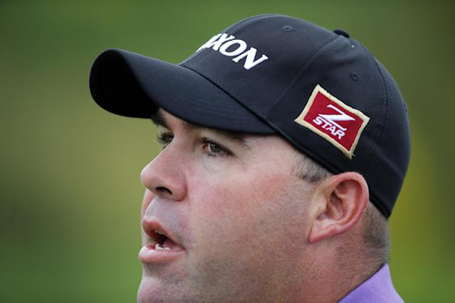 Kevin Stadler of the U.S. looks on during the last day of the French Open Golf tournament at Paris National course in Guyancourt, west of Paris, France, Sunday, July 6, 2014. (AP Photo/Francois Mori)