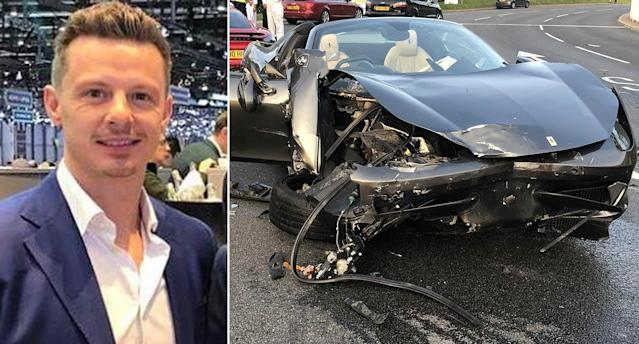 Hartley and the smashed car following the roundabout crash. (SWNS)