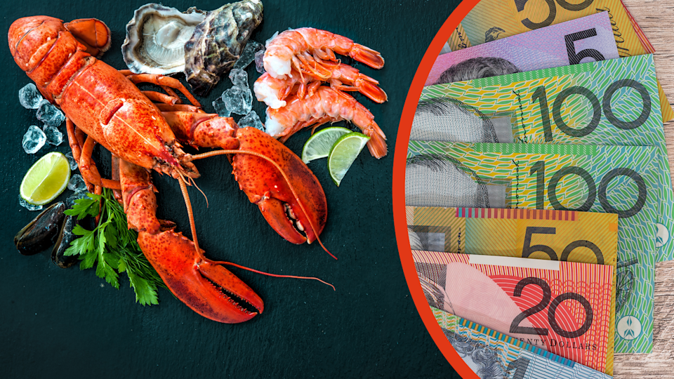 A large lobster and seafood spread on a balck background and Australian currency