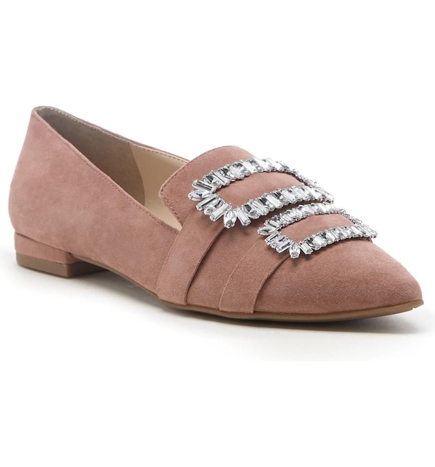 """<p><a href=""""https://www.popsugar.com/buy/Sole-Society-Kelynn-Crystal-Buckle-Flats-552816?p_name=Sole%20Society%20Kelynn%20Crystal%20Buckle%20Flats&retailer=shop.nordstrom.com&pid=552816&price=59&evar1=fab%3Aus&evar9=47266328&evar98=https%3A%2F%2Fwww.popsugar.com%2Ffashion%2Fphoto-gallery%2F47266328%2Fimage%2F47266416%2FSole-Society-Kelynn-Crystal-Buckle-Flats&list1=shopping%2Cshoes%2Cflats%2Cspring%20fashion%2Csale%20shopping%2Cfashion%20shopping&prop13=mobile&pdata=1"""" rel=""""nofollow"""" data-shoppable-link=""""1"""" target=""""_blank"""" class=""""ga-track"""" data-ga-category=""""Related"""" data-ga-label=""""https://shop.nordstrom.com/s/sole-society-kelynn-crystal-buckle-flat-women/5447243/full?origin=category-personalizedsort&amp;breadcrumb=Home%2FSale%2FWomen%2FShoes%2FFlats&amp;color=mod%20mauve%20suede"""" data-ga-action=""""In-Line Links"""">Sole Society Kelynn Crystal Buckle Flats</a> ($59, originally $90)</p>"""