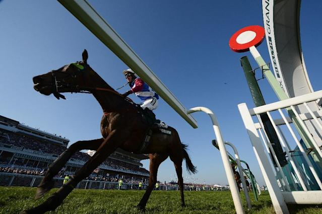 Jockey Derek Fox rides One for Arthur to win the Grand National horse race on the final day of the Grand National Festival horse race meeting at Aintree Racecourse in Liverpool, northern England on April 8, 2017 (AFP Photo/Oli SCARFF )