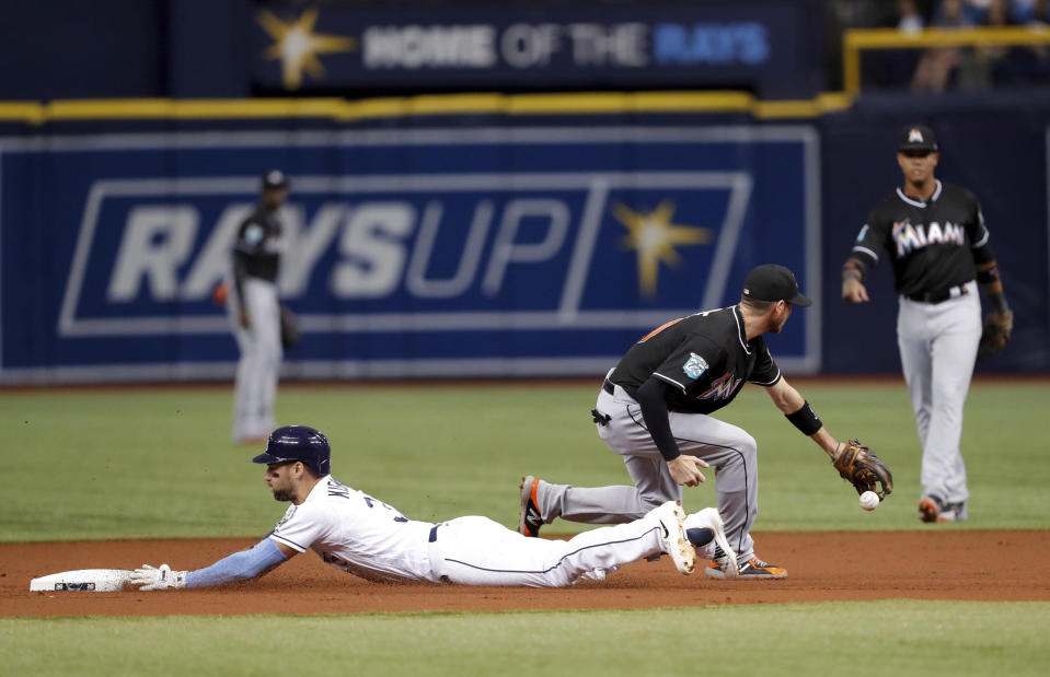 Tampa Bay Rays' Kevin Kiermaier slides in safely with a double as Miami Marlins shortstop JT Riddle fields a late throw during the first inning of a baseball game Friday, July 20, 2018, in St. Petersburg, Fla. (AP Photo/Mike Carlson)