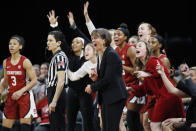 FILE - In this March 7, 2020, file photo, Stanford head coach Tara VanDerveer reacts with her team during the second half of an NCAA college basketball game against UCLA in the semifinal round of the Pac-12 women's tournament in Las Vegas. Stanford is receiving plenty of attention during the preseason with Tara VanDerveer on the verge of passing Pat Summitt as the winningest coach in women's basketball. But they are also hoping that the spotlight will also be on them at the end of the season. (AP Photo/John Locher, File)