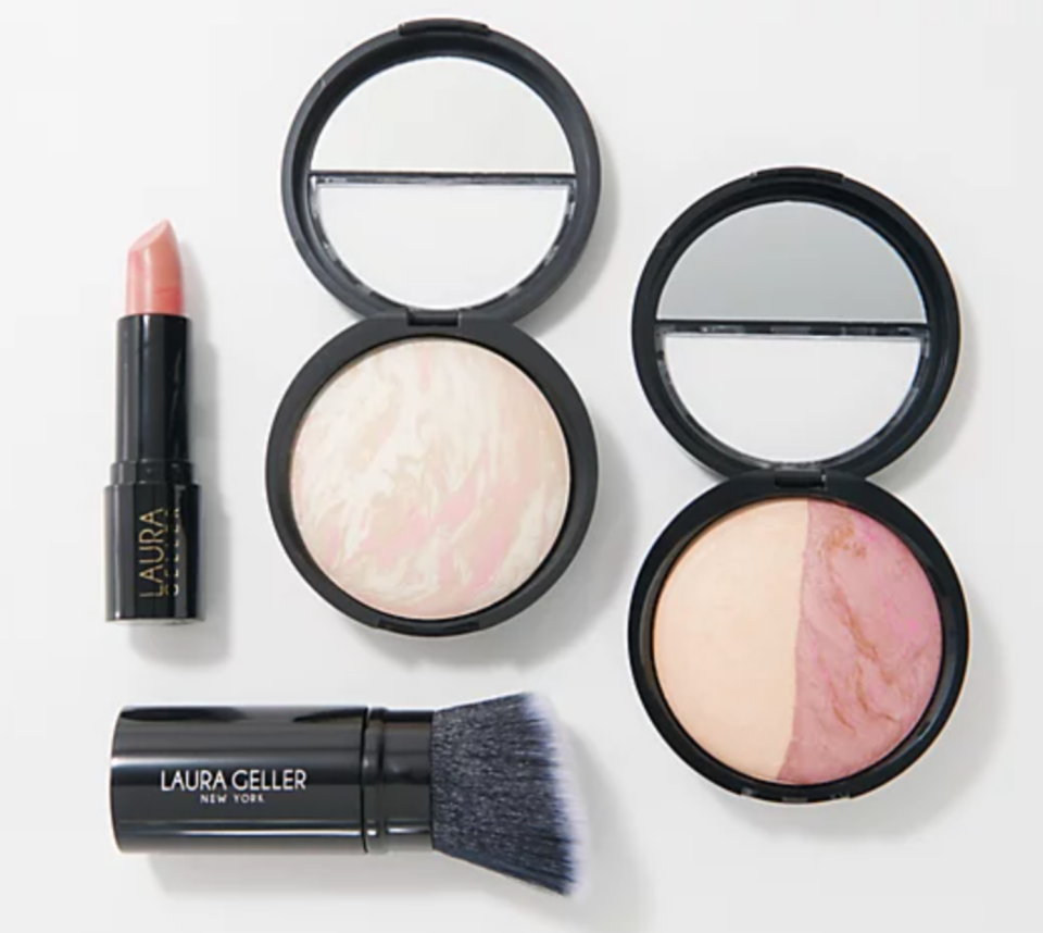 Streamline your summer makeup routine—this set includes foundation, blush, lipstick, and a Kabuki brush. (Photo: QVC)