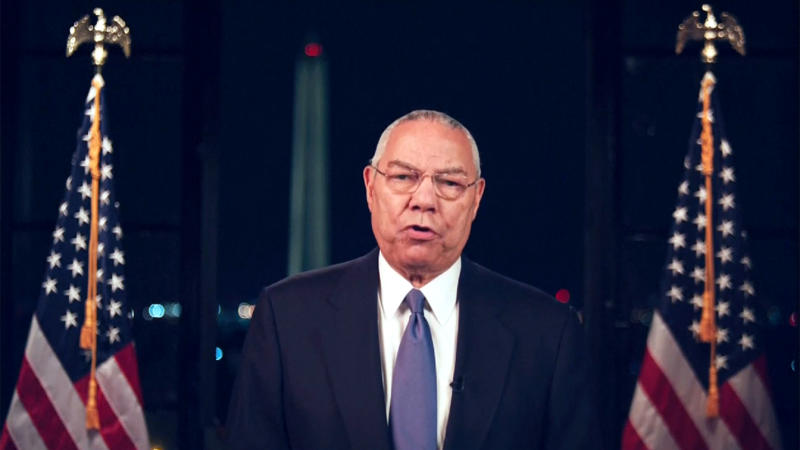Colin Powell speaks during the virtual Democratic National Convention on August 18, 2020. (via Reuters TV)